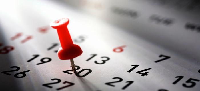 Calendario con chincheta